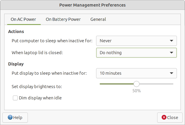 Power management settings - on AC.