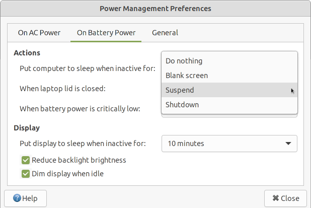 Power management settings - on battery.