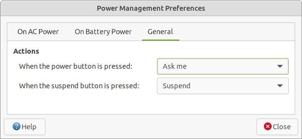 Power management settings - General tab.