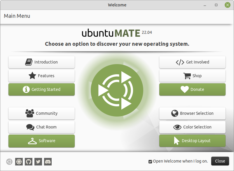 The Ubuntu MATE Welcome application.