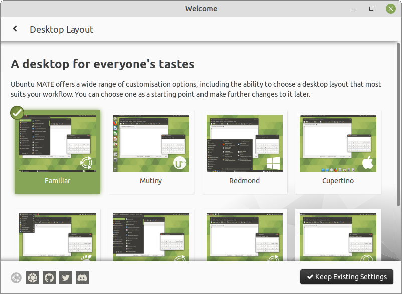 The Welcome application lets you select panel layouts.