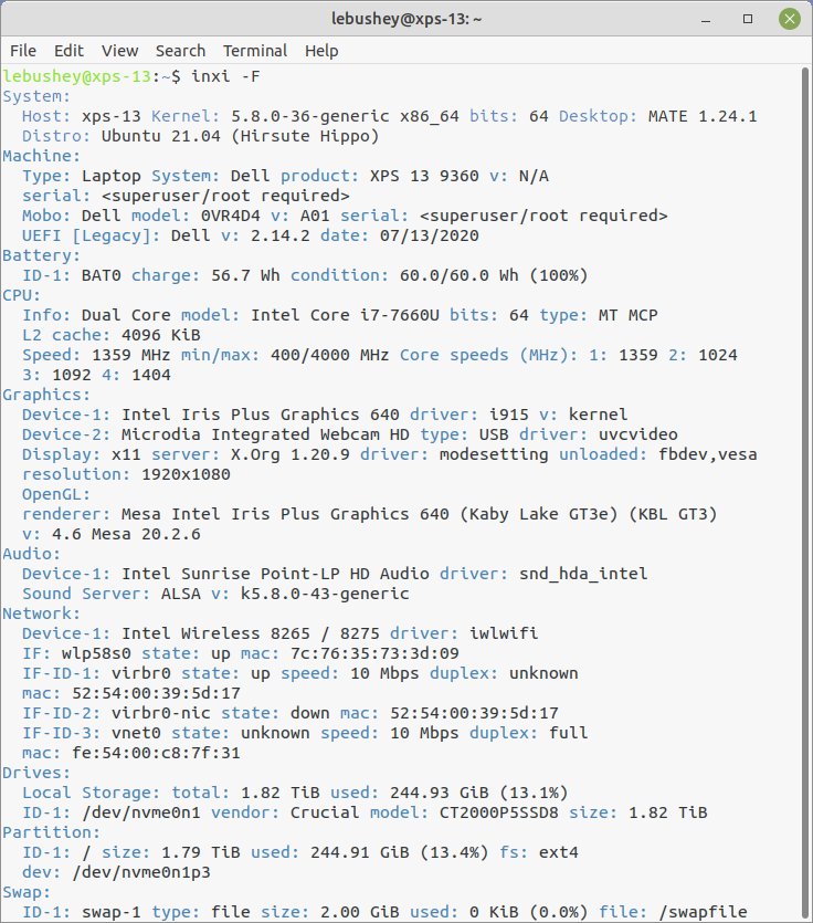 Screenshot of the inxi output.
