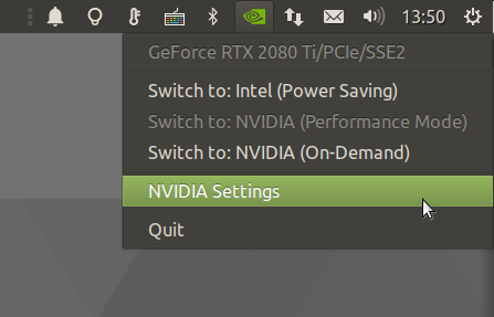 NVIDIA settings indicator.