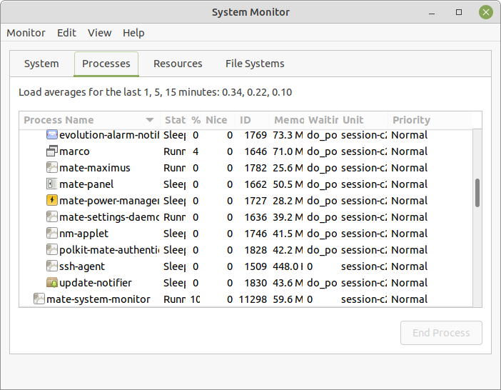 The System Monitor Processes Tab.
